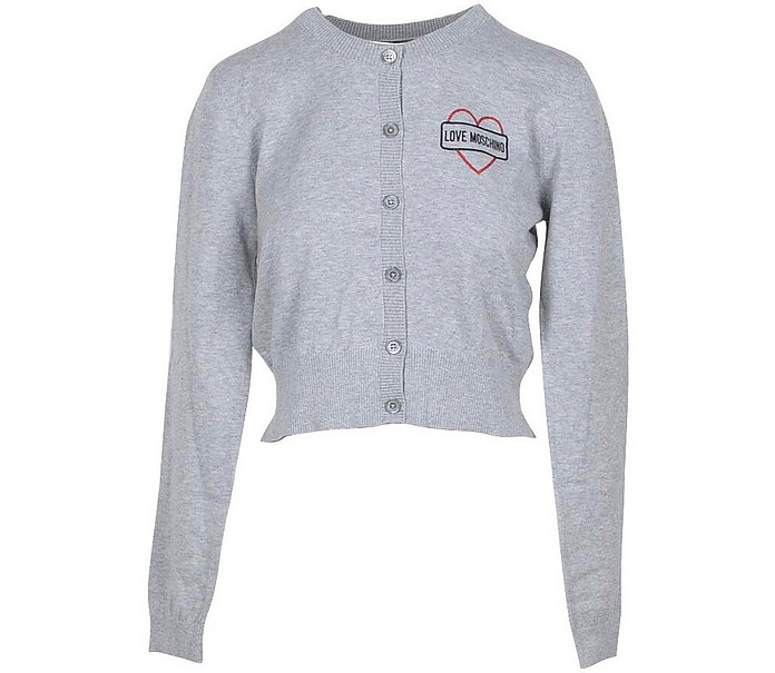 Melange Gray Cotton Women's Sweater - Love Moschino