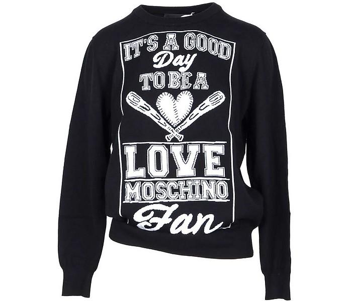 Black & White Cotton Women's Sweater - Love Moschino