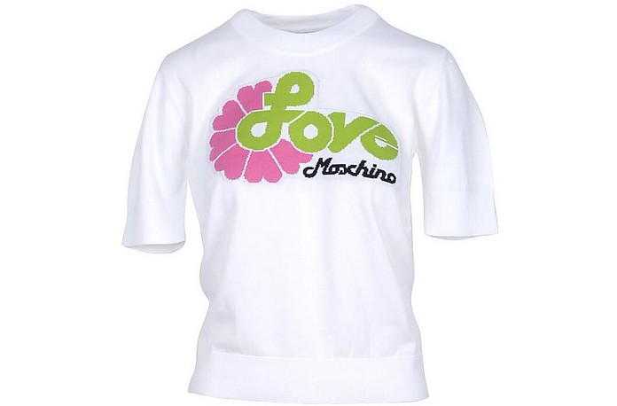 White Cotton Women's Sweater - Love Moschino