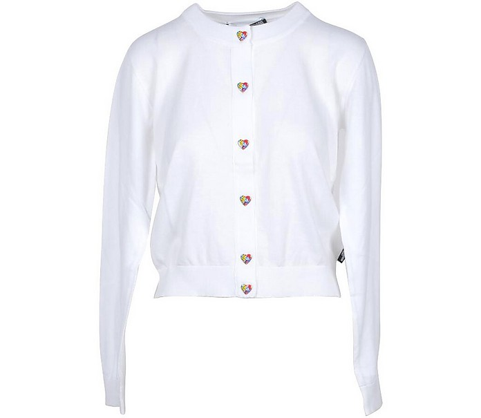 White Cotton Women's Sweater w/Hearts - Love Moschino
