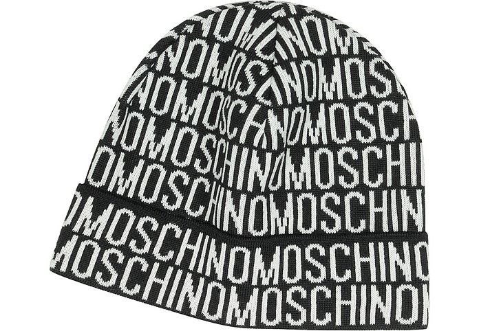 88b72f03883 Moschino Black White Moschino Signature Woven Wool Blend Men s Hat ...