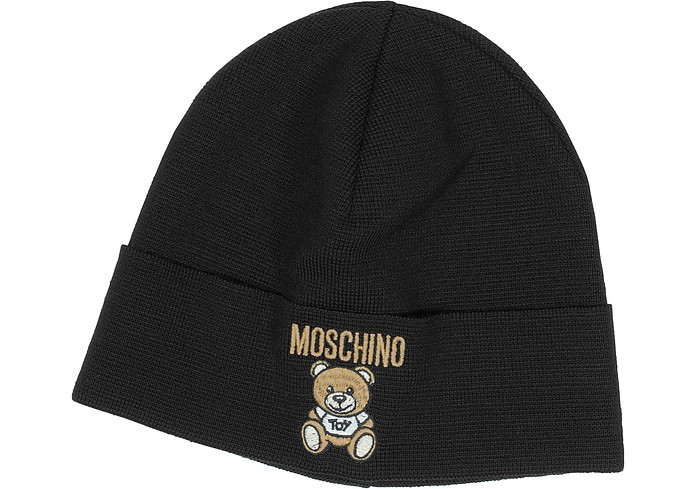 829faf9965f9e5 Moschino Black Moschino Teddy Bear Wool Blend Hat at FORZIERI UK