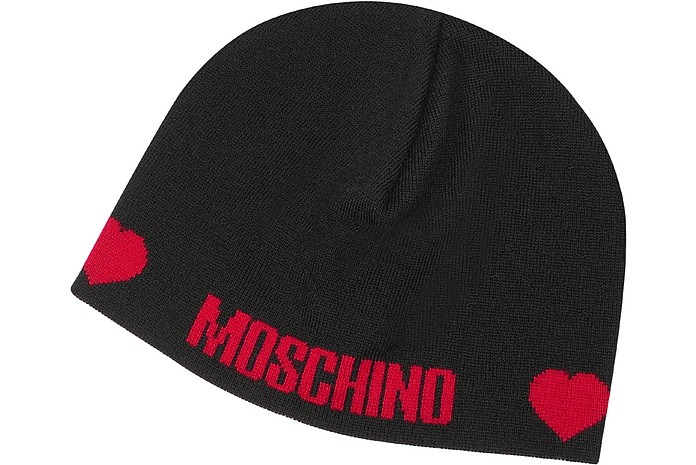 Moschino Black   Red Hearts Signature Knit Skull Cap at FORZIERI 4be2b3921d1c