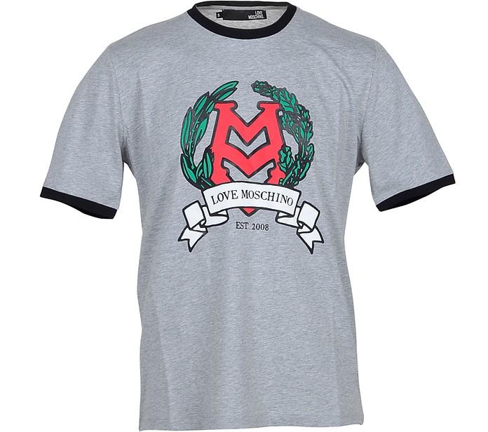 Melange Gray Cotton Men's T-Shirt - Love Moschino