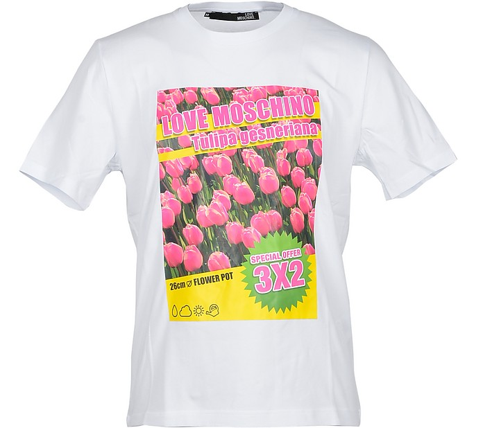 Pink Tulip Print White Cotton Men's T-Shirt - Love Moschino