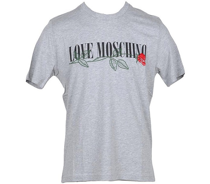 Embroidered Rose Gray Cotton Men's T-Shirt - Love Moschino