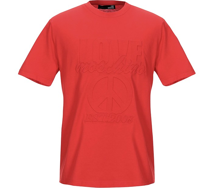 Signature Bright Red Cotton Men's T-Shirt - Love Moschino
