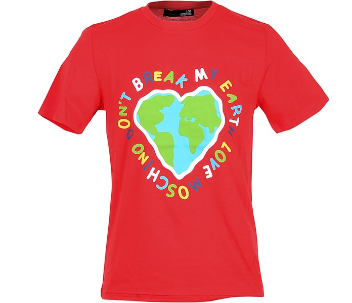 Don't Break My Heart Print Bright Red Cotton Men's T-Shirt - Love Moschino