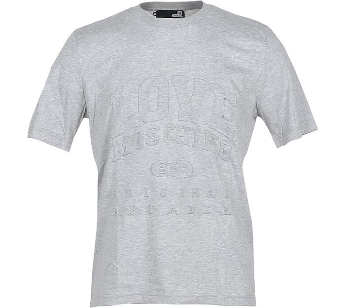 Signature Gray Cotton Men's T-Shirt - Love Moschino