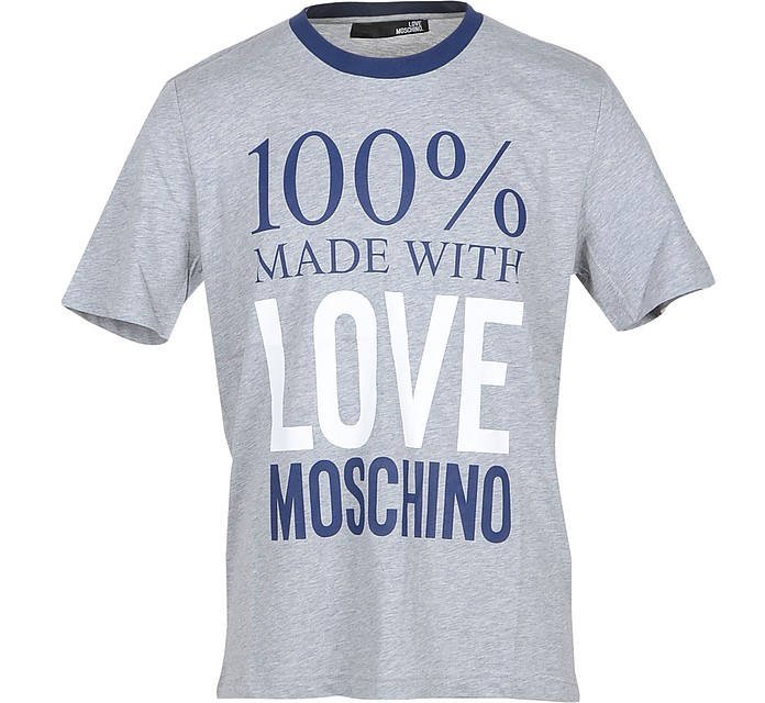 100% Made with Love Moschino Gray Cotton Men's T-Shirt - Love Moschino