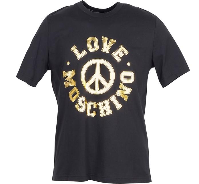 Golden Signature Print Black Cotton Men's T-Shirt - Love Moschino
