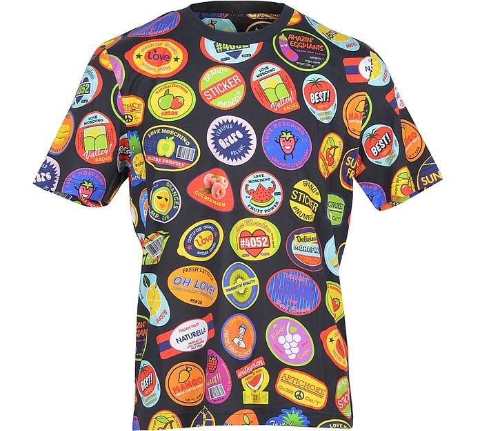 Allover Sticker Print Black Cotton Men's T-Shirt - Love Moschino