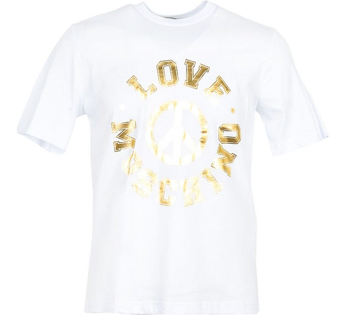 Golden Signature Printed White Cotton Men's T-Shirt - Love Moschino