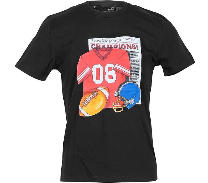 Football Print Black Cotton Men's T-Shirt - Love Moschino