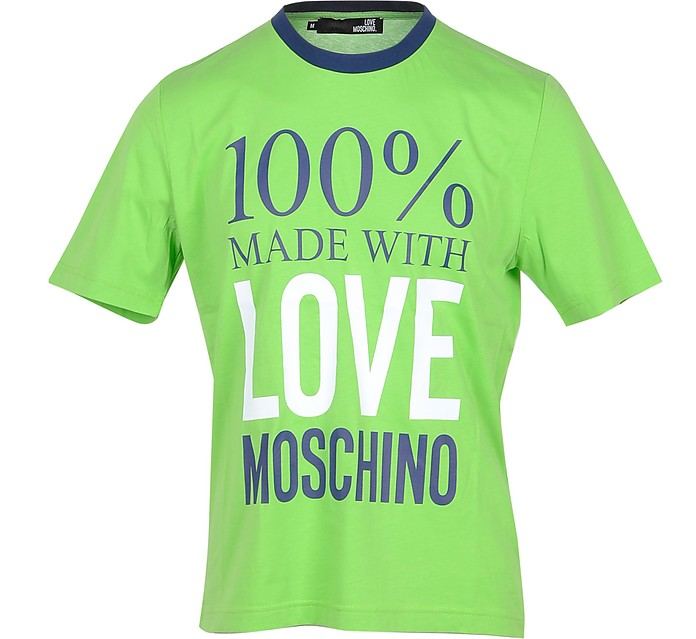 100% Made with Love Neon Green Cotton Men's T-Shirt - Love Moschino