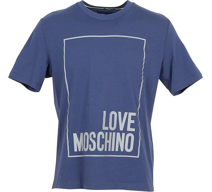 Signature Blue Cotton Men's T-Shirt - Love Moschino