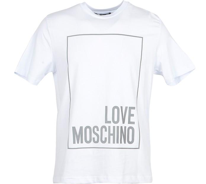 Signature White Cotton Men's T-Shirt - Love Moschino