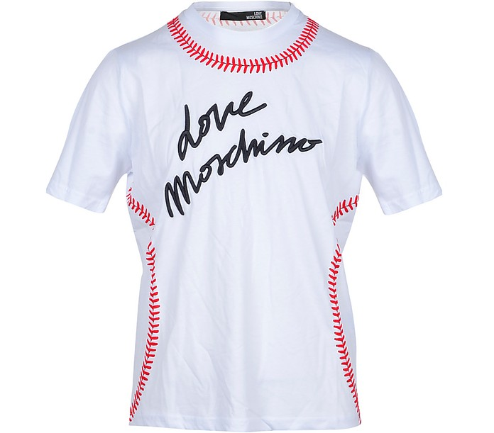 Baseball Stitch White Cotton Men's T-Shirt - Love Moschino