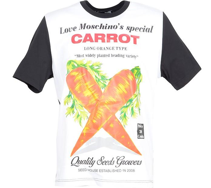 Carrots Print Black & White Cotton Men's T-Shirt - Love Moschino