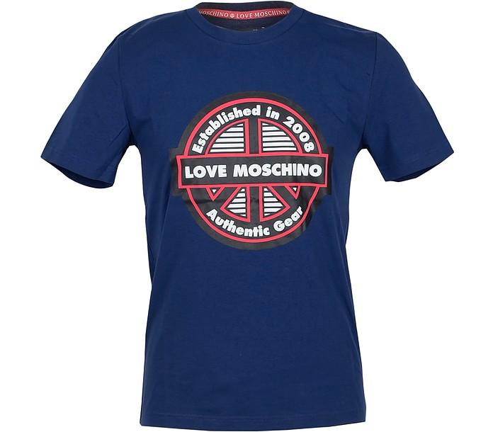Signature Print Bluette Cotton Men's T-Shirt - Love Moschino