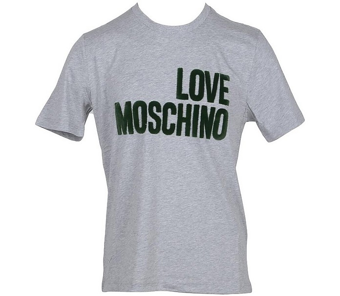 Love Moschio Melange Gray Cotton Men's T-Shirt - Love Moschino