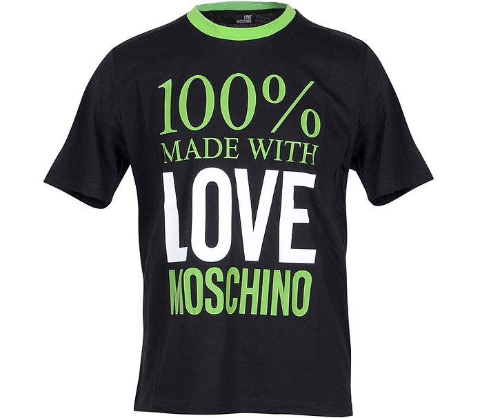 100% Made with Love Moschio Black Cotton Men's T-Shirt - Love Moschino