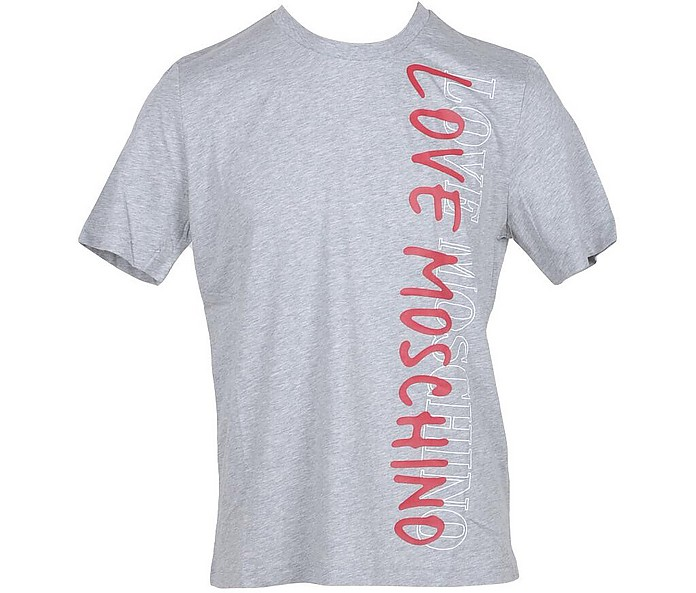 Vertical Print Melange Gray Cotton Men's T-Shirt - Love Moschino