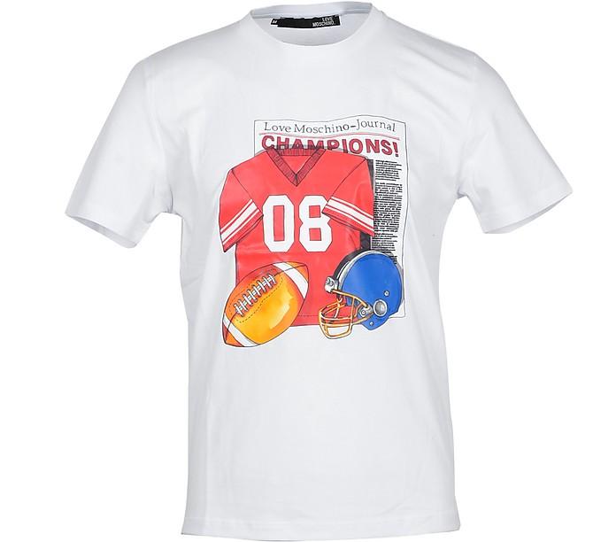 Football Print White Cotton Men's T-Shirt - Love Moschino