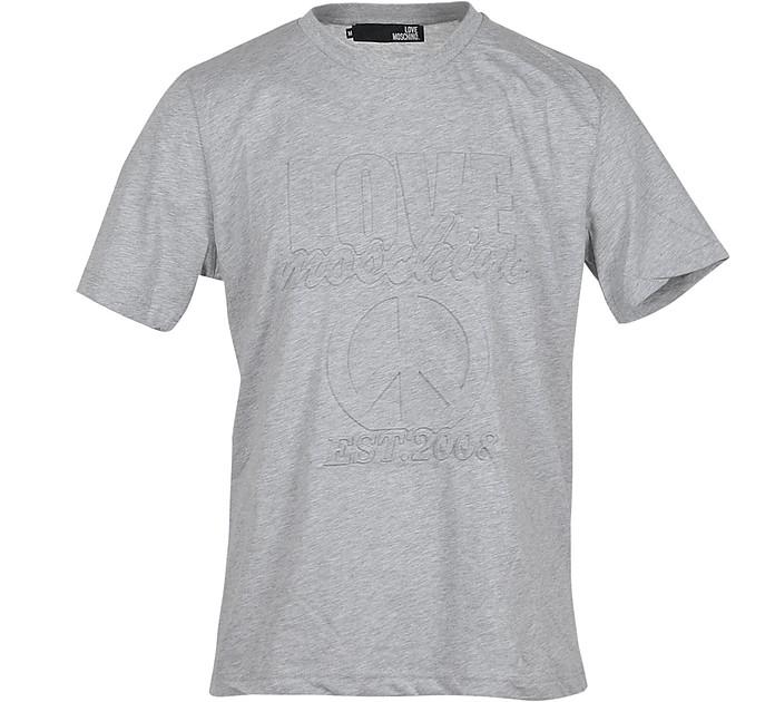Signature Melange Gray Cotton Men's T-Shirt - Love Moschino
