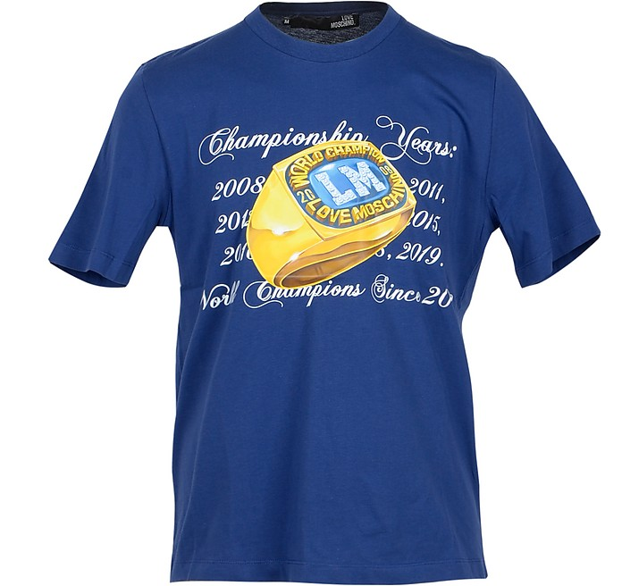 Champion Ring Print Blue  Cotton Men's T-Shirt - Love Moschino