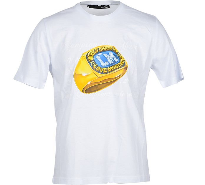 Champion Ring White Cotton Men's T-Shirt - Love Moschino
