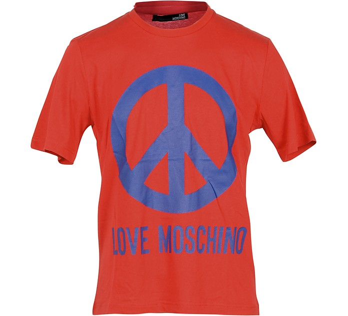 Peace Print Red Cotton Men's T-Shirt - Love Moschino