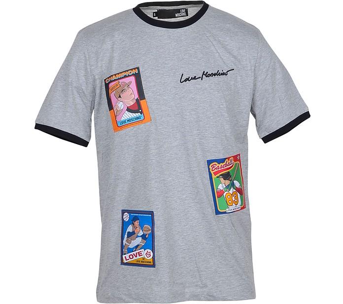 Melange Gray Cotton Men's T-Shirt w/Patches - Love Moschino