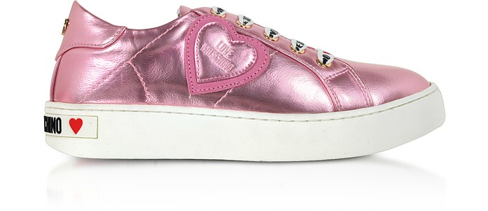 Pink Laminated Nappa Leather Women's Sneakers - Love Moschino