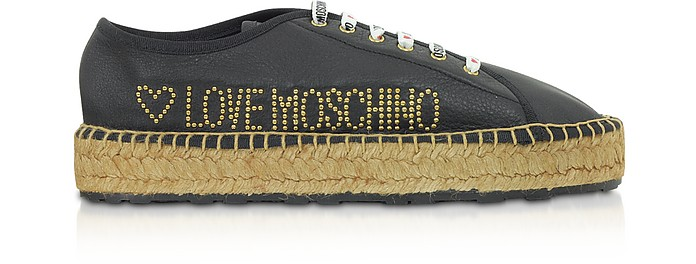 Black Leather Lace up Espadrilles - Love Moschino