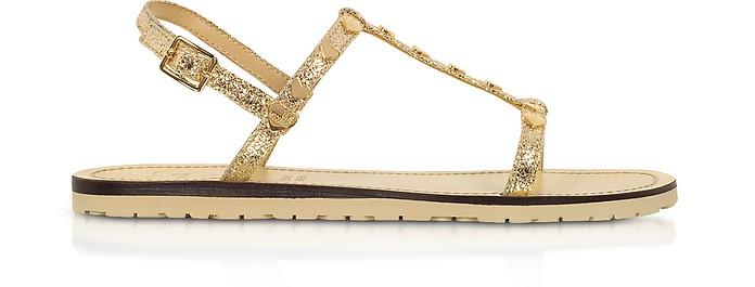 Craquelé Laminated Platinum Flat Sandals - Love Moschino