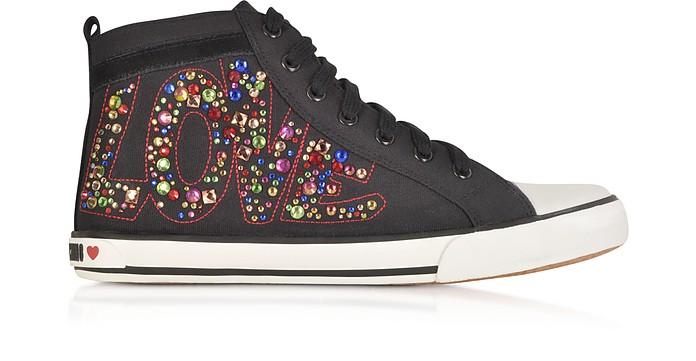 Love Black Canvas Sneaker - Moschino