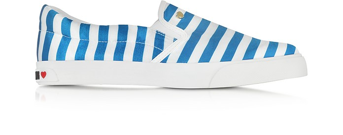 Blue and White Striped Canvas Slip-On - Moschino