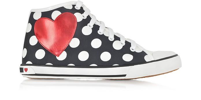 Polka-Dot Printed Canvas Sneaker - Moschino