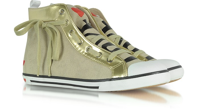 Love Moschino - High Top Fabric and Leather Sneaker - Moschino