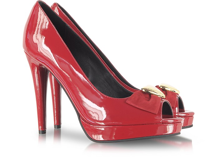 Red Patent Leather Platform Pump - Moschino