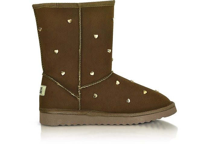 Love Moschino - Heart-Studded Brown Suede Boots - Moschino