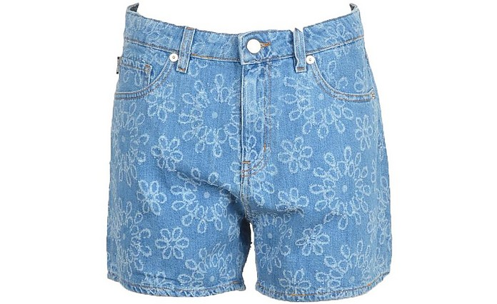 Women's Sky Blue Shorts - Love Moschino