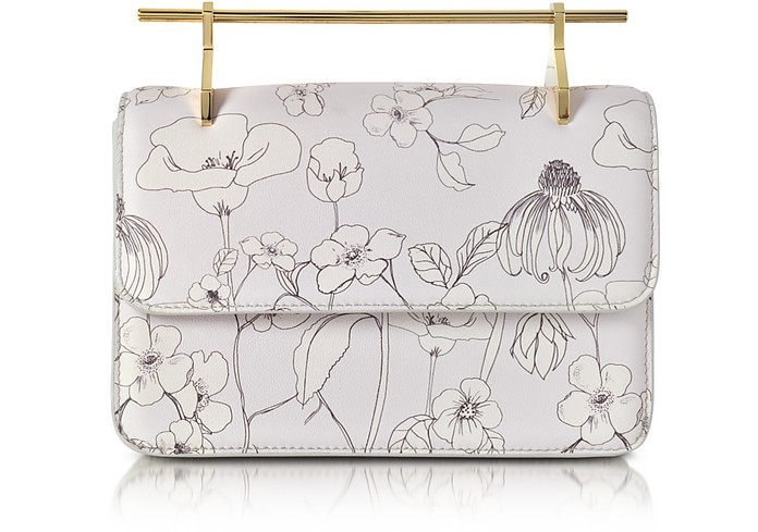 La Fleur du Mal Printed Flowers Cool Gray Leather Clutch - M2Malletier