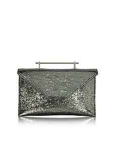 Annabelle Black Metallic Textured Fabric Clutch w/Chain - M2Malletier