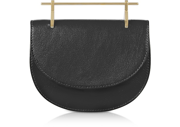 Black Leather Mini Half Moon Bag - M2Malletier