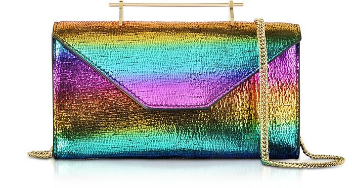 Clutch/Gürteltasche aus Metallic Rainbow Leder - M2Malletier