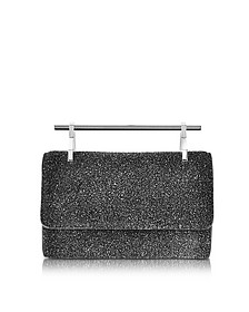 Mini Fabricca Cosmic Black Glitter Leather Clutch w/Chain - M2Malletier