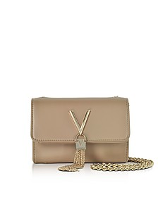 Diva Mini Beige Eco-Leather Shoulder Bag - Valentino by Mario Valentino