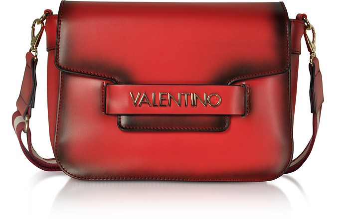 Eco Leather Blast Shoulder Bag w/Canvas Strap - Valentino by Mario Valentino